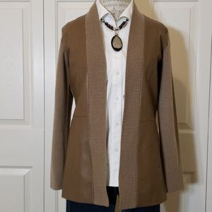 Worth New York Wool and Leather Cardigan Jacket
